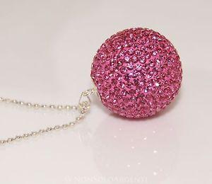 【送料無料】ネックレス アルジェントローザフクシアciondolo argento 925 sfera zirconi rosa fuchsia chiama angeli 29 mm collana pl