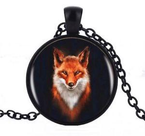 【送料無料】ネックレス ペンダントネックレスレッドフォックスチェーンcollier pendentif renard roux et blanc, chaine noire