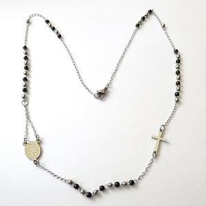 【送料無料】ネックレス ロザリオcollana girocollo uomo donna rosario in acciaio lucido e nero 50 cm 59 h
