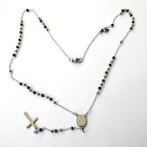 【送料無料】ネックレス ドナコンcollana uomo donna rosario acciaio lucido e nero con crocifisso 50 cm 203 a