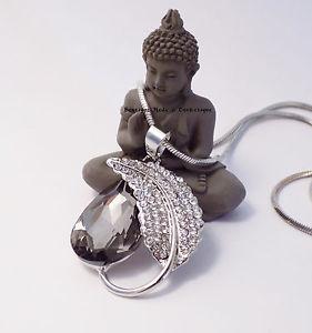 【送料無料】ネックレス ペンダントネックレスsautoir collier pendentif larme feuille strass metal argente * neuf