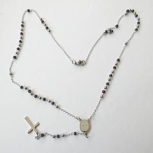 【送料無料】ネックレス ドナコンcollana uomo donna rosario acciaio lucido e nero con crocifisso 54 cm 33 q