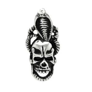 【送料無料】ネックレス ステンレスコブラスチールヘッドボールチェーンacier inoxydable tte de mort tte w cobra pendentif, gratuit ball chain