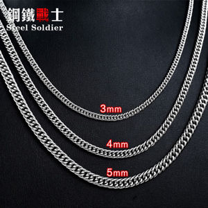 【送料無料】ネックレス メタルクランプステンレススチールフラットチェーンas fr23552 soldat chaine en acier inoxydable plat de chaines man colliers metal