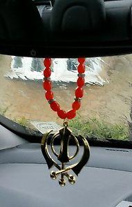 送料無料 ネックレス シークパンジャブシンカーレッドフックplaqu or punjabi sikh singh grand khanda pendentif voiture accrocher rougetChQdsr