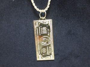 【送料無料】ネックレス ゴールドドルビルロープ14kt or ep 100 dollar bill breloque longueur 51cm w61cm 25mm corde 1631