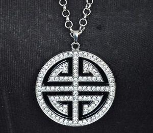 【送料無料】ネックレス ※ペンダントネックレスファッションcl53 * sautoir collier pendentif labyrinthe contour strass argente mode femme *
