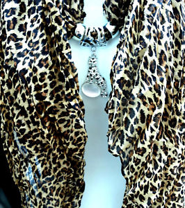 【送料無料】ネックレス パンサースカーフビスコーススカーフfoulard panthre100viscose,avecbijoux de foulard en mtal cargent,strassn1068