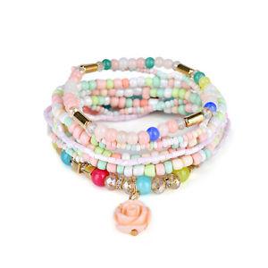 【送料無料】ネックレス ボヘミアローズビーズブレスレットアクセスbohemian multilayer sweet rose flower pendant bead bracelet clothing acces