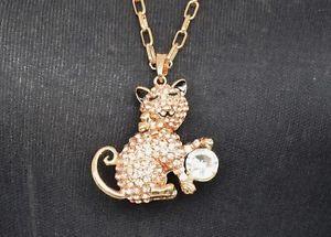【送料無料】ネックレス ※ペンダントネックレスチャットドールモードcl02 * sautoir collier pendentif felin chat strass dore mode femme *