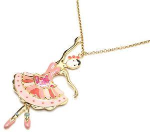 【送料無料】ネックレス ペンダントネックレスダンスドレスピンクsp824e sautoir collier pendentif poupe danseuse robe bustier email rose et