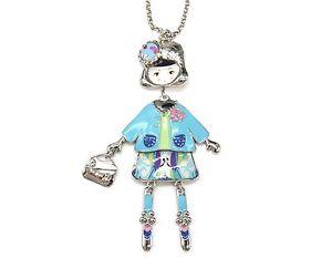 【送料無料】ネックレス ペンダントネックレスsp760e sautoir collier pendentif poupe articule femme robe mtal peint tu