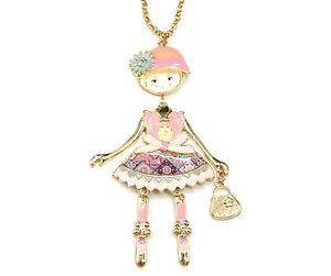 【送料無料】ネックレス ペンダントネックレスsp744e sautoir collier pendentif poupe articule femme robe mtal peint ro