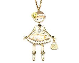 【送料無料】ネックレス ペンダントネックレスsp742e sautoir collier pendentif poupe articule femme robe mtal peint be