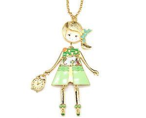 【送料無料】ネックレス ペンダントネックレスsp754e sautoir collier pendentif poupe articule femme robe mtal peint ve