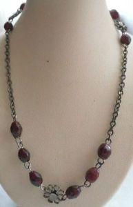 【送料無料】ネックレス クリップガラスガーネットビーズcollier bijou vintage rglable couleur vieil argent perles de verre grenat 4910