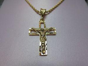 【送料無料】ネックレス ゴールドカットクロスktゴールドロープ14 ct or ep dcoupes croix crucifix amp; 406cm762cm 14kt or ep 25mm rope3069