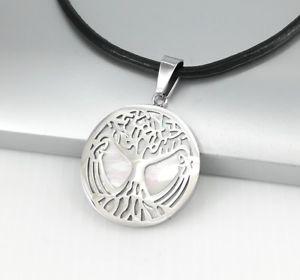 【送料無料】ネックレス ステンレススチールペンダントネックレスセルティックラウンドツリーargent inox rond celtique arbre de la vie perle pendentif noir cuir collier