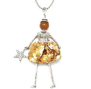 【送料無料】ネックレス ペンダントネックレスドレススパンコールゴールデンsp850d sautoir collier pendentif poupe robe strass et sequins dor avec et