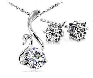 【送料無料】ネックレス ドナクオーレレガロparure collana donna cuore cigno orecchini cristallo zirconi swa coppia regalo