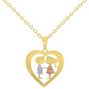 【送料無料】ネックレス ゴールドメッキクランプトルク14k plaqu or coeur amour enfant sweetheart couple collier 406cm