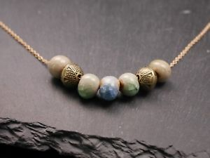 【送料無料】ネックレス セラミックブロンズネックレスcollier avec cramique perles et bronze perles bronze