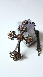 【送料無料】ネックレス クリップアウトランダーセルティッククロスブロンズオレンジノエルcollier outlander croix celtique sassenach bronze antique ambre ide cadeau noel