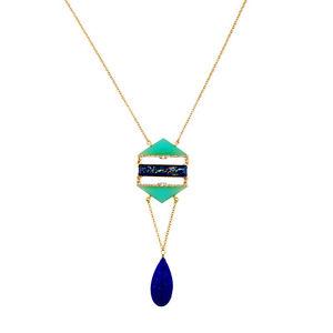 【送料無料】ネックレス ロングネックレスドロップレトロcollier long pendantif dor goutte bleu vert geometrique simple retro ddz2