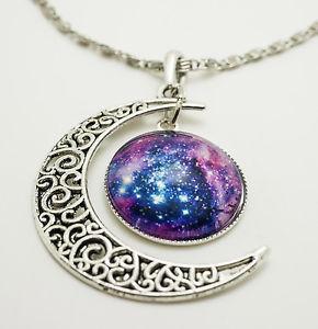 【送料無料】ネックレス カボションcollier avec lune cabochon pendentif diffrent galaxie motifs