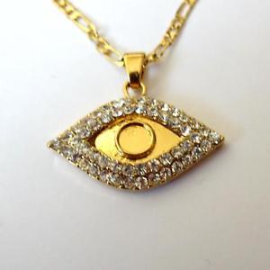【送料無料】ネックレス カテナロディファティマビアンキcollana donna catena 54 cm c oro ciondolo occhio di fatima zirconi bianchi 130 v