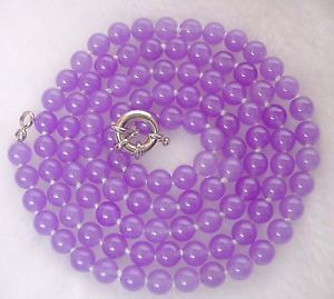 【送料無料】ネックレス バイオレットパールヒスイクランプmesdames,8mm ,beau,violet jade perle , collier,90 cm