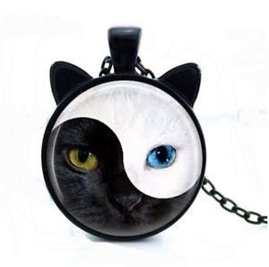 【送料無料】ネックレス ネックレスペンダントヘッドヤンcollier pendentif tte et oreilles de chat blanc et noir, yin amp; yang