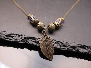【送料無料】ネックレス シートチベットブロンズカラーcollier avec feuille et tibet perles bronze