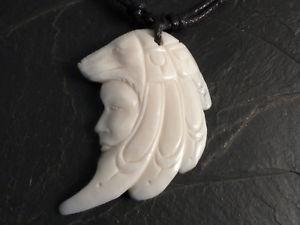 【送料無料】ネックレス クリップオオカミインドpendentif bffelknochen pour collier loup amulette indien bijoux talisman