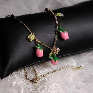 【送料無料】ネックレス クランプピンクグリーンミニブラックパールシートcollier email bourgeon fleur rose vert mini perle noir feuille soire l8