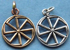 【送料無料】ネックレス ブロンズスレーブホイールkolovrat, slave roue du soleil en bronze ou argent