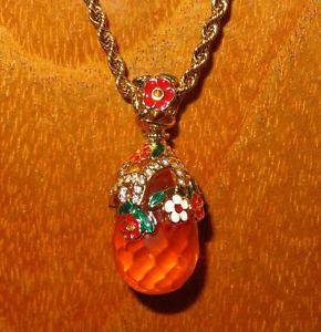 【送料無料】ネックレス ロシアエナメルクランプオレンジスワロフスキークリスタルoeuf pendentif russe authentique collier maill orange swarovski cristaux
