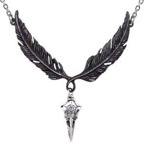 【送料無料】ネックレス クランプカラスincrowtation collier corbeau crow tte de mort noir ailes pentagramme