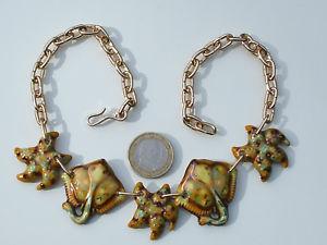 【送料無料】ネックレス セラミックネックレスjoli collier de plage ancien en ceramique vernissee longueur rglable