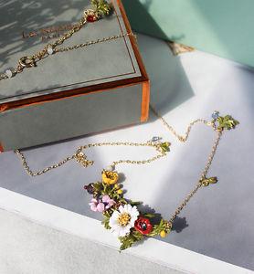 【送料無料】ネックレス ゴールデンカラーピンクレトロcollier dor court email jaune rose violet multicolore fleur insecte retro l7