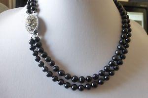 【送料無料】ネックレス ブラックカルチャークリップcollier de 2 rangs de perles de culture noires