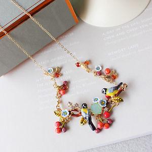 【送料無料】ネックレス クランプcollier email deux oiseau branche cerisier rouge fleur blanc bleu artisan l7