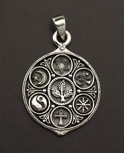 送料無料 ネックレス ペンダントシルバーシンボルpendentif thosophique toutes religions symbole de verit argent 925 7g 25868 l8mOyw80vNn