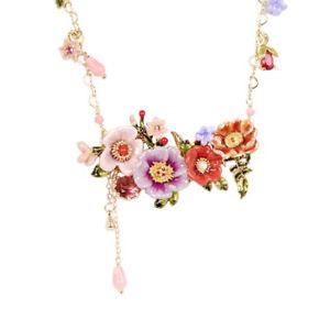 【送料無料】ネックレス ロングネックレスシートピンクcollier long dor bouquet pivoine fleur feuille email rose vert violet fin l7
