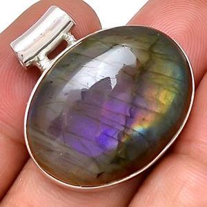 【送料無料】ネックレス ペンダントケースマウントpendentif protection labradorite violet trs rare monture argent 925 ref 4660