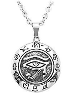 【送料無料】ネックレス エジプトメダルクランプチェーンpendentif oeil egyptien argent veritable medaille chaine collier