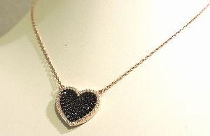 【送料無料】ネックレス アルジェントコンクオーレネロcollana argento 925 rosata con cuore nero