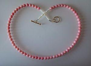 【送料無料】ネックレス クリップピンクコーラルビーズcollier corail rose 6mm et perles 50cm