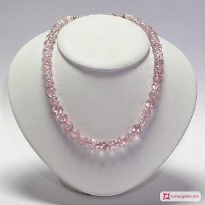 【送料無料】ネックレス アルジェントクリスタッロディロッカロサ**mg** collana cristallo di rocca rosa 10 mm in argento