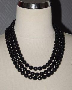 【送料無料】ネックレス ネックレスポッジガラスビーズクラスプcollier de perles 3 rangs poggi perles en verre noir fermoir mtal dor